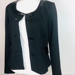 Black Blazer w/ Patent Leather Accents